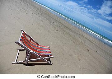 beach chair on seashore