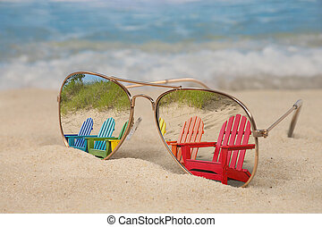 beach chair reflection in sunglasses