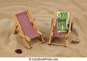 beach chair with euro banknote - beach chair with euro...