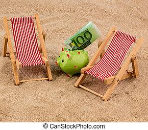 beach chair with euro bill - beach chair with euro currency...
