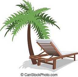 beach chair with palm on white background