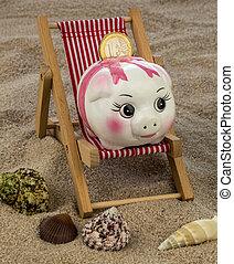 beach chair with piggy bank and euro - beach chair with euro...