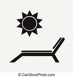 Beach chair with sun icon