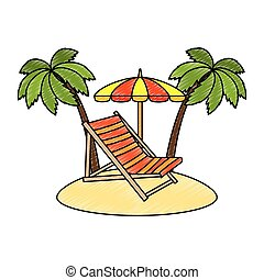 beach chair with umbrella and palms