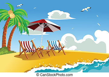 Beach chairs - A vector illustration of beach chairs on the...