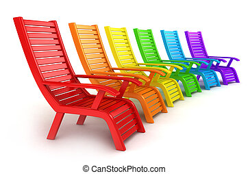 Beach Chairs - 3D Illustration of Colorful Beach Chairs