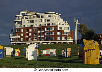 Beach chairs in front of the lakeside terraces in Cuxhaven