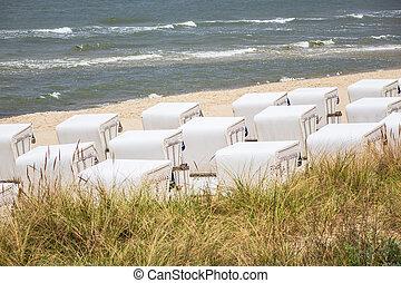 Beach chairs on the island Usedom in Zinnowitz, Germany