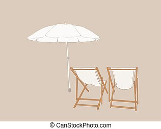 beach chairs with umbrella , sketch vector.