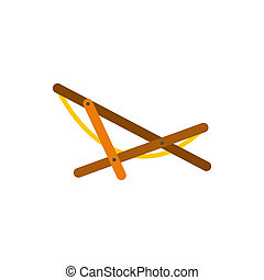 Beach chaise icon in flat style