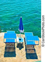 Beach chaise longues