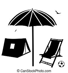 Beach chaise lounge, umbrella and tent