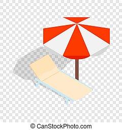 Beach chaise lounge with umbrella isometric icon