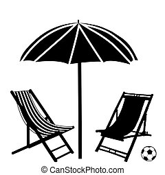 Beach chaise lounges and umbrella on white background,...