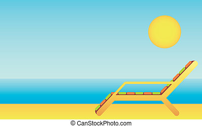 Beach chaise lounges - Vector illustration, color full