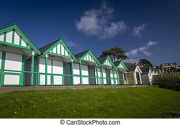 Beach chalets in Swansea