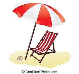 beach - vector beach umbrella and chair