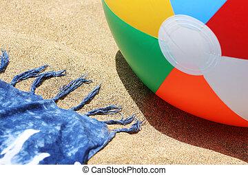 Beach with ball and sarong