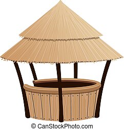 Beach Cocktail Bar - Bungalow bar with a reed roof on a...
