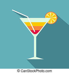 Beach cocktail icon, flat style