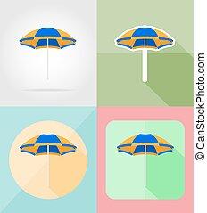 beach color umbrella flat icons vector illustration