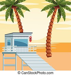 beach colorful design with lifeguard tower, vector ...