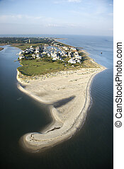 Aerial view of beach and residential community on Bald Head Island, North Carolina.