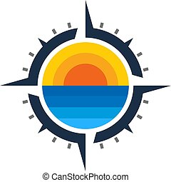 Beach Compass Logo Icon Design
