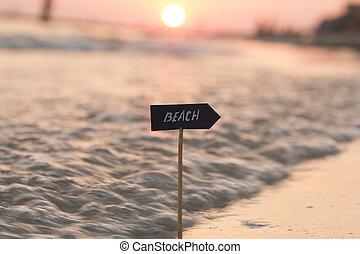 beach concept, sunset, blurred photo for background