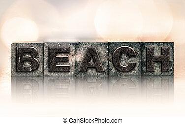 Beach Concept Vintage Letterpress Type