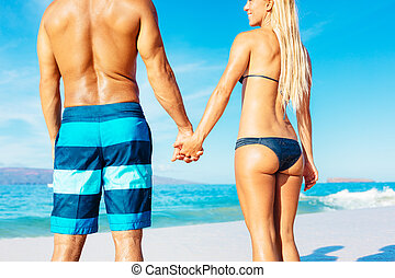 Beach Couple - Attractive Fit Couple on the Beach in ...