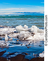 Beach covered with ice shards