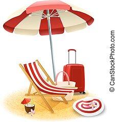 Beach Deck Chair And Umbrella Illustration - Beach deck...
