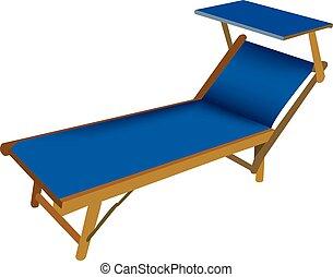 Beach deck chair in blue color Beach deck chair in blue...