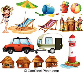 Beach - Different beach items and the tourist
