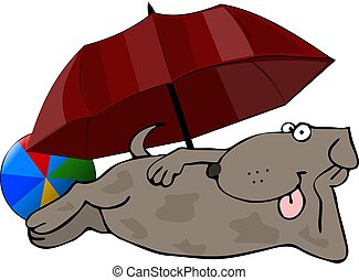 Beach Dog - This illustration depicts a dog lying beneath a...