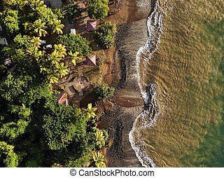 Beach drone view in the Caribbean