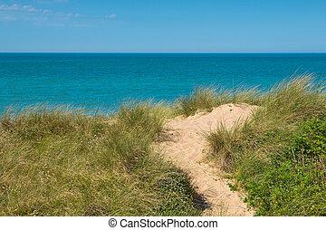 Beach, dune, sea view over the Dover strait near calais