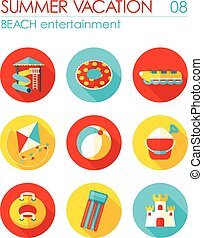 Beach entertainment icon set. Summer. Vacation