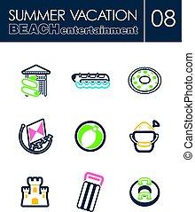 Beach entertainment icon set. Summer. Vacation