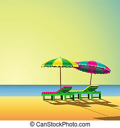 Beach - Two Sunloungers and Parasols on a Beach