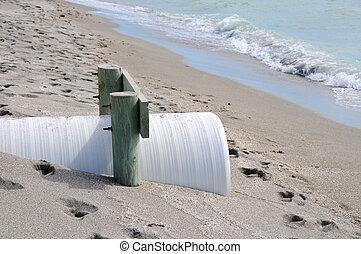 Beach Erosion Control - Drainage Pipe to Control Beach...