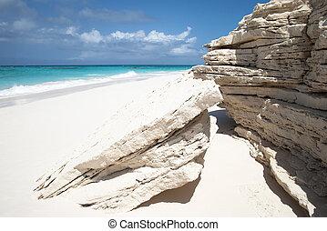Beach Erosion - The geologic erosion on Half Moon Cay...