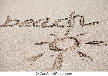 """""""beach"""", escrito, areia"""