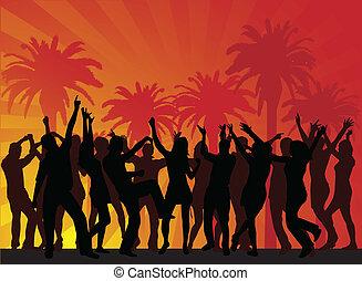 beach-, fête, vecteur, vacances