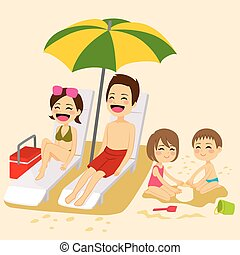 Beach Family Sunbathing - Cute family on beach sunbathing...