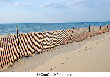 beach fence on Lake Michigan