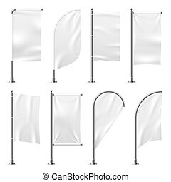 Beach flag. Template banner mockup white flags promotion event display exhibition 3d outdoor advertising realistic