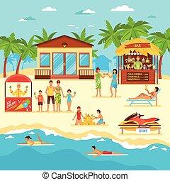 Beach Flat Style Illustration