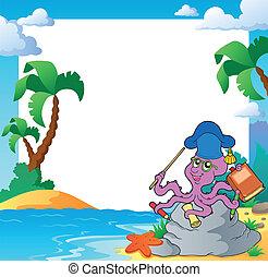 Beach frame with octopus teacher - eps10 vector...